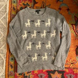 100% Wool J. Crew Llama Jewel Sweater